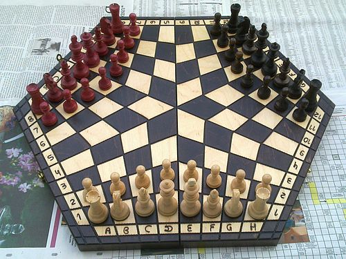 A regular hexagon 96-cell board is a frequent choice by inventors of three-player chess. Chess for Three - Hexagonal Board.jpg