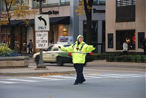 A traffic controller at Michigan Avenue, Chicago.