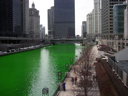 Chicago River dyed green, buildings more prominent