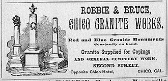 William Robbie - Advertisement for Chico Granite and Marble Works