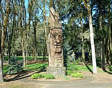 Chief Kno-Tah is a large wooden sculpture depicting the face of a Native American. The sculpture is located in Shute Park, the city's oldest park.