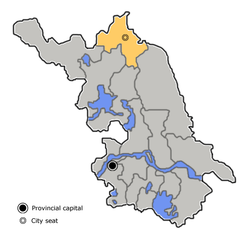 Lianyungang is highlighted on this map