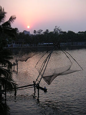 Chinese fishing nets - Chinese fishing net at Kollam