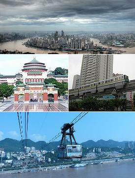 Từ trên xuống, trái sang: Du Trung, tòa nhà Hội đồng, đường tàu điện, đường sắt cáp treo qua Trường Giang
