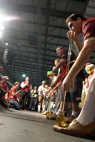 Oktoberfest of Blumenau - Contestants preparing for the National Competition of Chopp in Meter Drinkers during the Oktoberfest in Blumenau