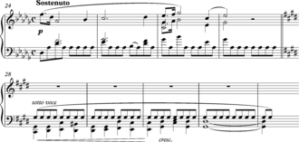 Pedal point -  Chopin, Prelude in D flat Major, Op. 28, No. 15, bars 24-31.
