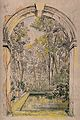Christ Church, Oxford; the bath and gardens. Coloured etchin Wellcome V0014086.jpg