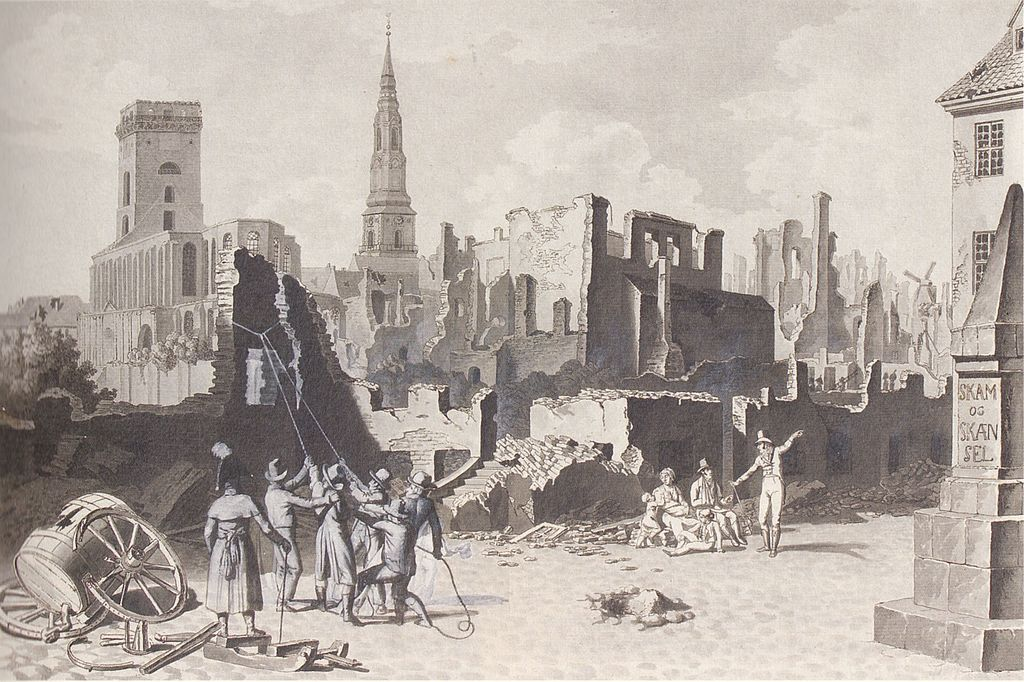Copenhague en ruine après le bombardement britannique de 1807. Dessin de C W Eckersberg.