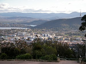 Suburbs of Canberra - Canberra's CBD - as viewed from Mt Ainslie.