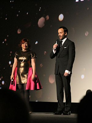 Clare Stewart - Clare Stewart with Tom Ford at the 2016 London Film Festival