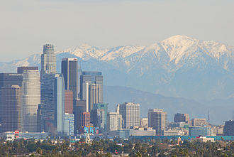 Baldwin Hills, Los Angeles - View from Baldwin Hills of Downtown Los Angeles in the distance and the San Gabriel Mountains.