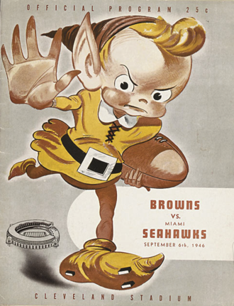 History of the Cleveland Browns - Game program depicting the Brownie elf, the team's primary mascot in its successful early years. From the Browns' first game on September 6, 1946 against the Miami Seahawks.
