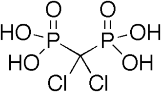 Phosphonate - Clodronic acid is a bisphosphonate used as a drug to treat osteoporosis.