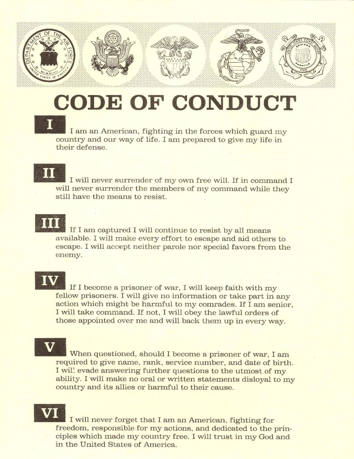 Code of the united states fighting force wikipedia for Code of conduct sample template