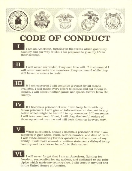 The Code of the United States Fighting Force, which applies to serving U.S. military personnel, outlines the duty to escape in article III Code of Conduct (United States Military).pdf