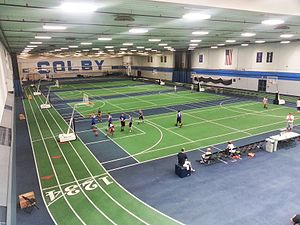 Colby Mules - Fieldhouse inside the Harold Alfond Athletic Center, with indoor track and four convertible tennis or basketball courts.