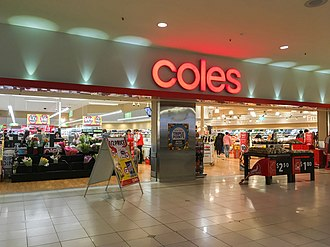 Coles Supermarkets - An entrance to a Coles supermarket in Chadstone Shopping Centre.