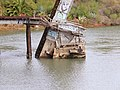 Collapsed section of Corte Madera Creek drawbridge, November 2018.JPG