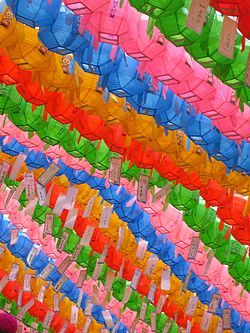 Coloured lanterns at the Lotus Lantern Festival