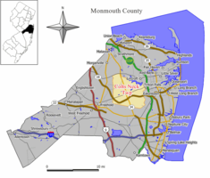 Map of Colts Neck Township in Monmouth County. Inset: Location of Monmouth County highlighted in the State of New Jersey.