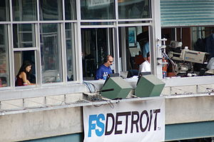 Mario Impemba - Impemba (middle) in the Fox Sports Detroit booth during a Tigers home game