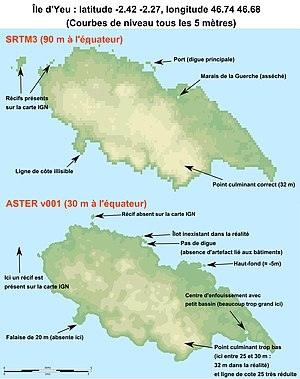 Advanced Spaceborne Thermal Emission and Reflection Radiometer - SRTM3 vs. ASTER comparison (Île d'Yeu), inaccuracies and errors of the latter are indicated by arrows