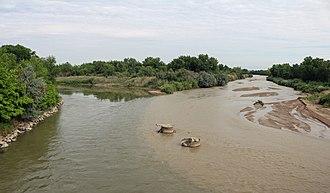Fountain Creek (Arkansas River) - The confluence of Fountain Creek (right) and the Arkansas River near Pueblo, Colorado.