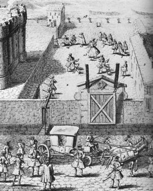 Convulsionnaires of Saint-Médard - Convulsionnaires confined to the Bastille, 18th-century engraving.
