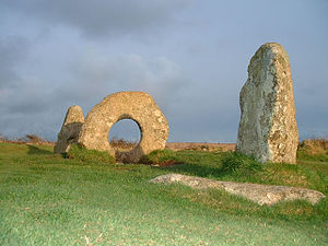 "History of Cornwall - Mên-an-Tol (""Holed stone""), an Early Bronze Age monument near Madron, in the far west of Cornwall."