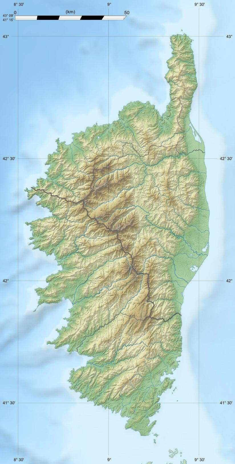 Corse region relief location map