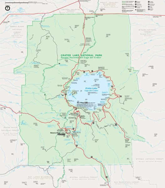 crater lake on a map File Crater Lake National Park Bilingual Map Pdf Wikimedia Commons crater lake on a map