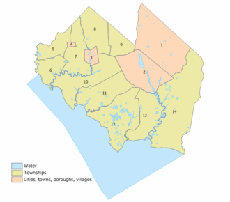 Cumberland County, New Jersey - Index map of Cumberland County Municipalities (click to see index key)