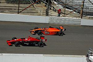 Wade Cunningham - Cunningham (inside) racing in Indy Lights in 2008