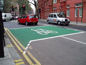 Cycling in London - An advanced stop line allows cyclists to get a head start on stationary traffic.