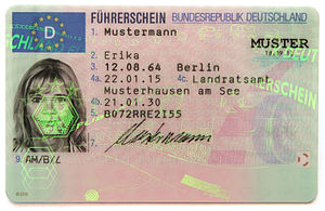 European driving licence - German version of an EU driving licence card with the EU flag on it (2013, specimen)