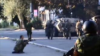 Battle of Ilovaisk - DPR fighters and BTR-80 assault the Azov and Dnipro Battalions