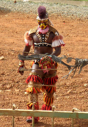 "Senegalese wrestling - A ""false lion"" (simb) dancer who participates in the ceremony prior to matches"