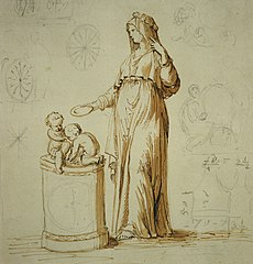 Standing woman with two children on a pedestal