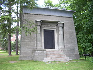 """The Sphinx """"tomb,"""" a classic example of Egyptian Revival architecture"""