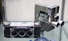 David White Stereo Realist camera (left), c. 1950, with Wollensak Eye-Matic Model 46 8-mm Spool Camera (right), c. 1958 - Museum of Science and Industry (Chicago) - DSC06422.JPG