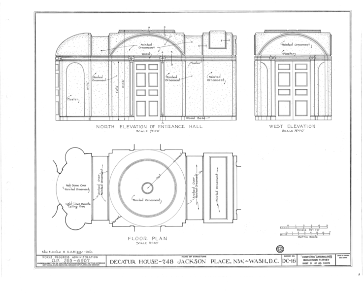 File:Decatur House, National Trust for Historic Preservation, 748 Jackson Place Northwest, Washington, District of Columbia, DC HABS DC,WASH,28- (sheet 9 of 23).png
