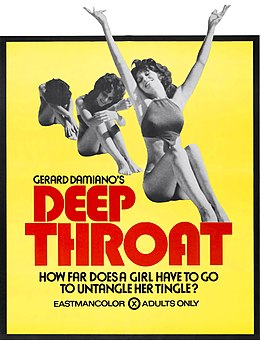 Linda Lovelace a Deep Throat c. film plakátján (1972)