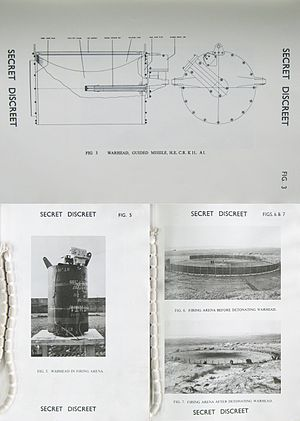 Continuous-rod warhead - Before-and-after detonation of a K11A1 continuous rod warhead intended for the RAF Bloodhound Mk.2