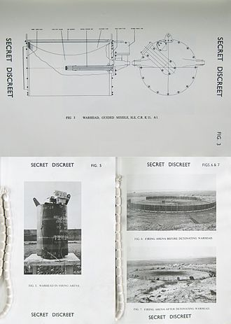 Bloodhound (missile) - Before-and-after detonation of a K11A1 continuous rod warhead intended for Bloodhound Mk.2