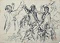 Dehodencq A. - Ink, Pencil - RECTO, Etude de personnages (peut-être une étude pour un épisode de la vie de Christophe Colomb) - 15.5x21.5cm.jpg