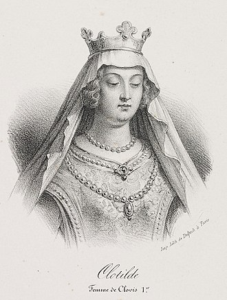 Clotilde - A lithograph of Saint Clotilde