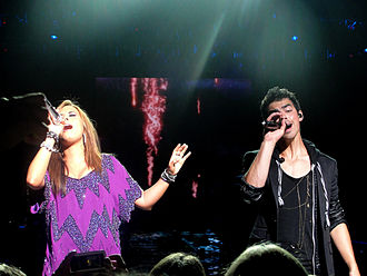 Wouldn't Change a Thing (Camp Rock song) - Lovato and Jonas in September 2010.