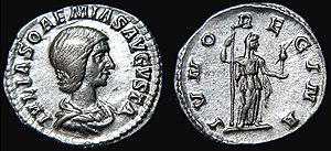 "Juno (mythology) - IVNO REGINA (""Queen Juno"") on a coin celebrating Julia Soaemias"