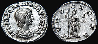 Julia Soaemias - Julia Soaemias on the observe of a Denarius, styled Julia Soaemias Augusta. On the reverse, Juno Regina.