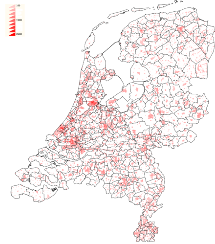 Population density in the Netherlands Density Netherlands 2007.png